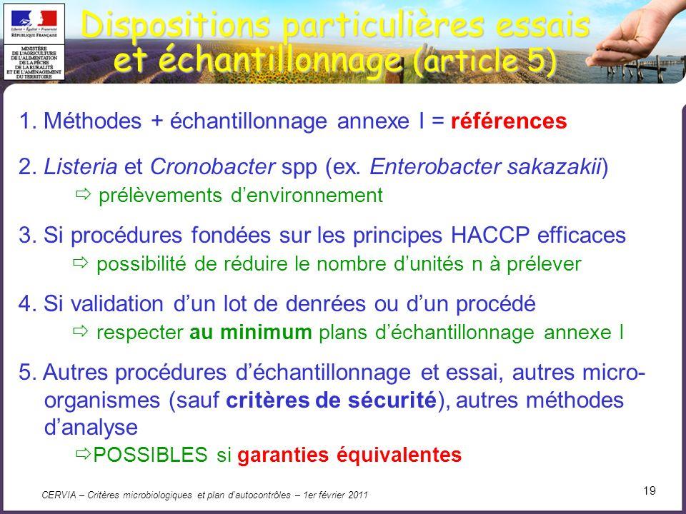 Dispositions particulières essais et échantillonnage (article 5)