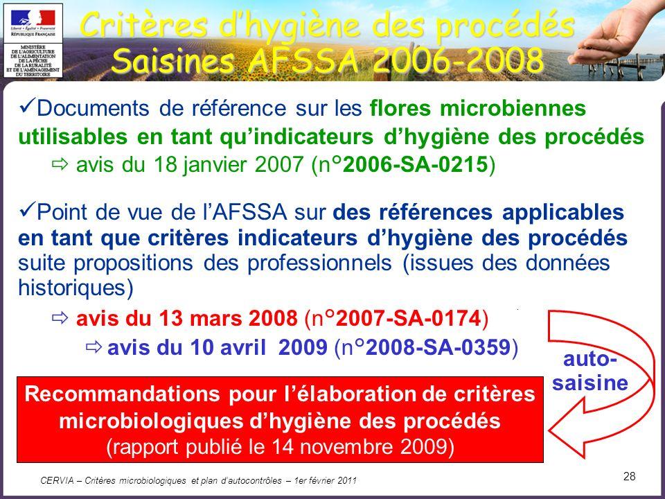 Critères d'hygiène des procédés Saisines AFSSA 2006-2008