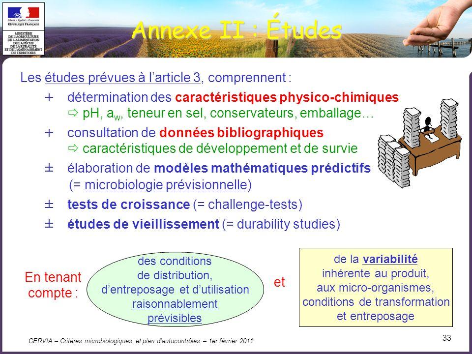 Annexe II : Études Les études prévues à l'article 3, comprennent :