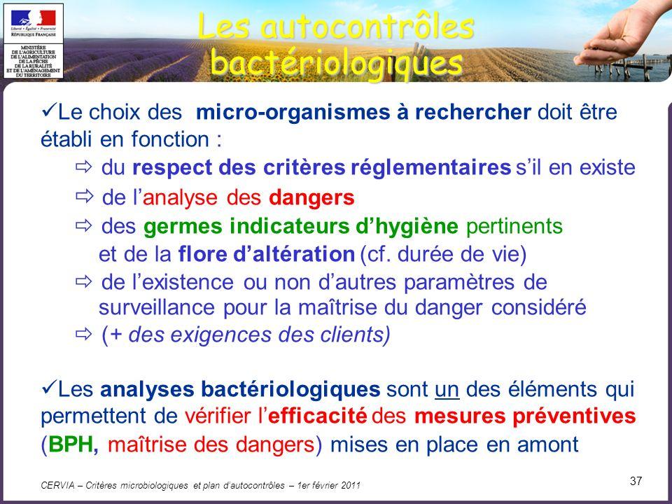 Les autocontrôles bactériologiques de l'analyse des dangers