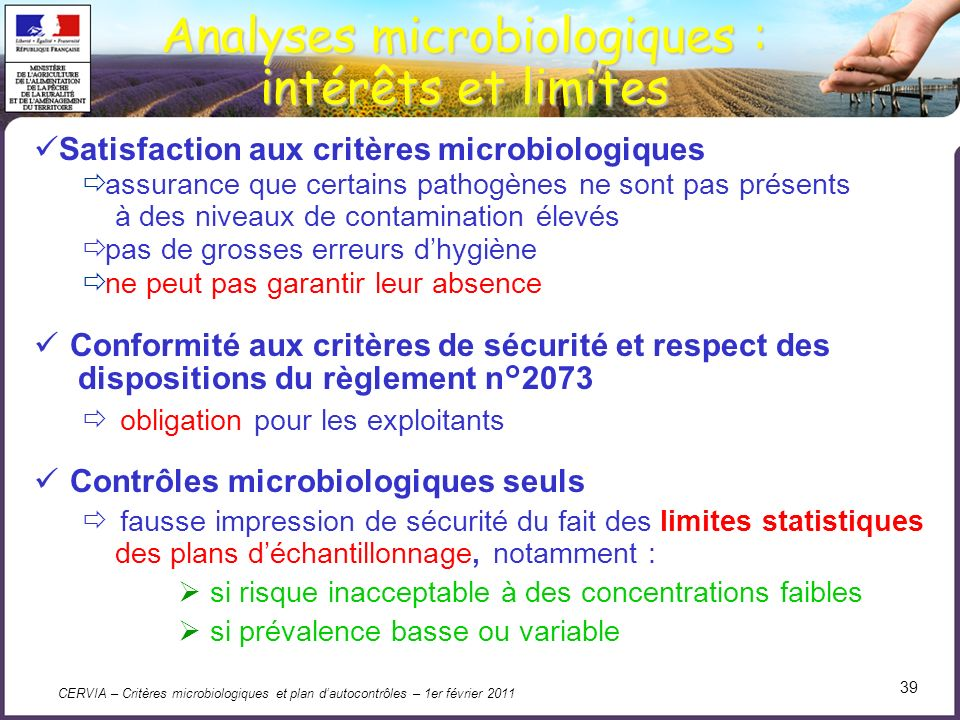 Analyses microbiologiques :