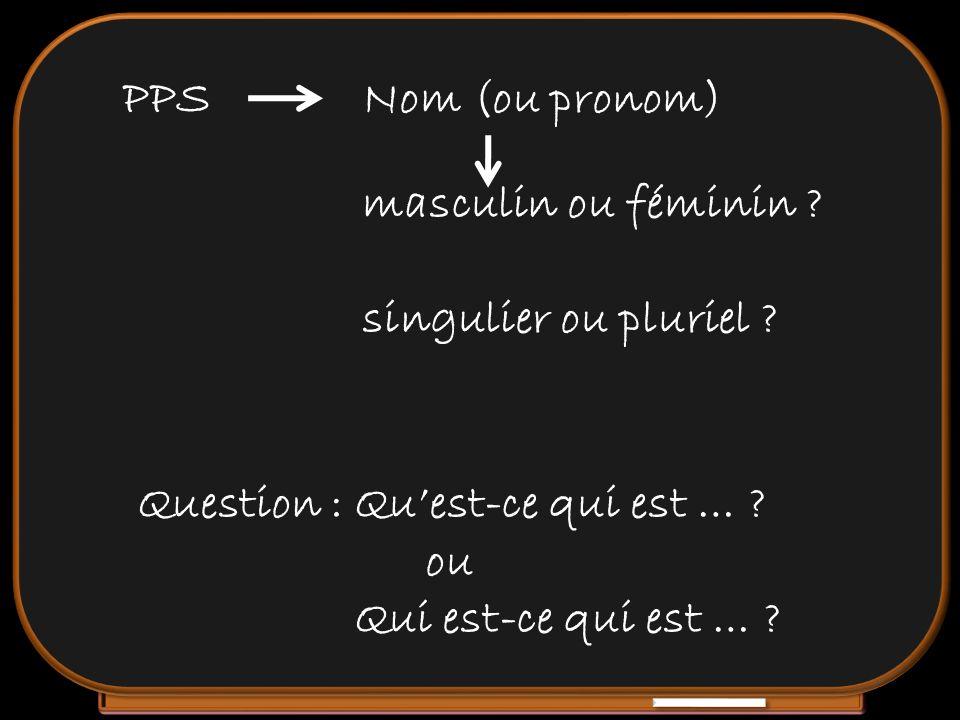 PPS Nom (ou pronom) masculin ou féminin singulier ou pluriel Question : Qu'est-ce qui est …
