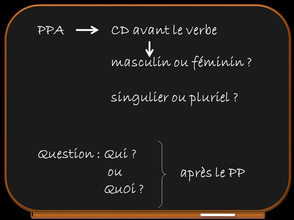 PPA CD avant le verbe. masculin ou féminin singulier ou pluriel Question : Qui ou. Qu0i