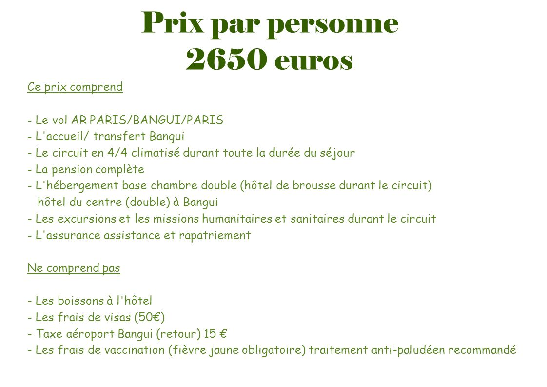 Prix par personne 2650 euros