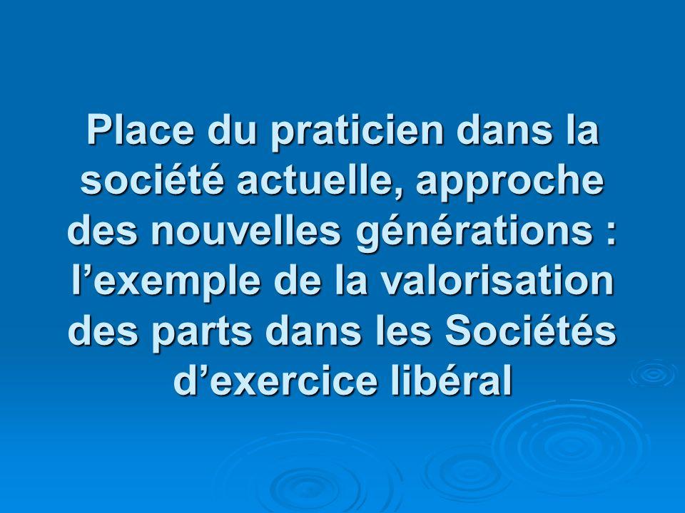 Place du praticien dans la société actuelle, approche des nouvelles générations : l'exemple de la valorisation des parts dans les Sociétés d'exercice libéral