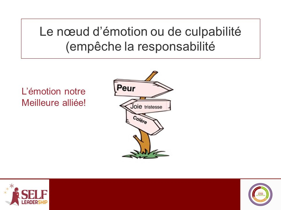 Le nœud d'émotion ou de culpabilité (empêche la responsabilité