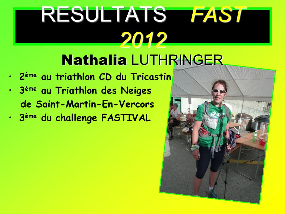 RESULTATS FAST 2012 Nathalia LUTHRINGER