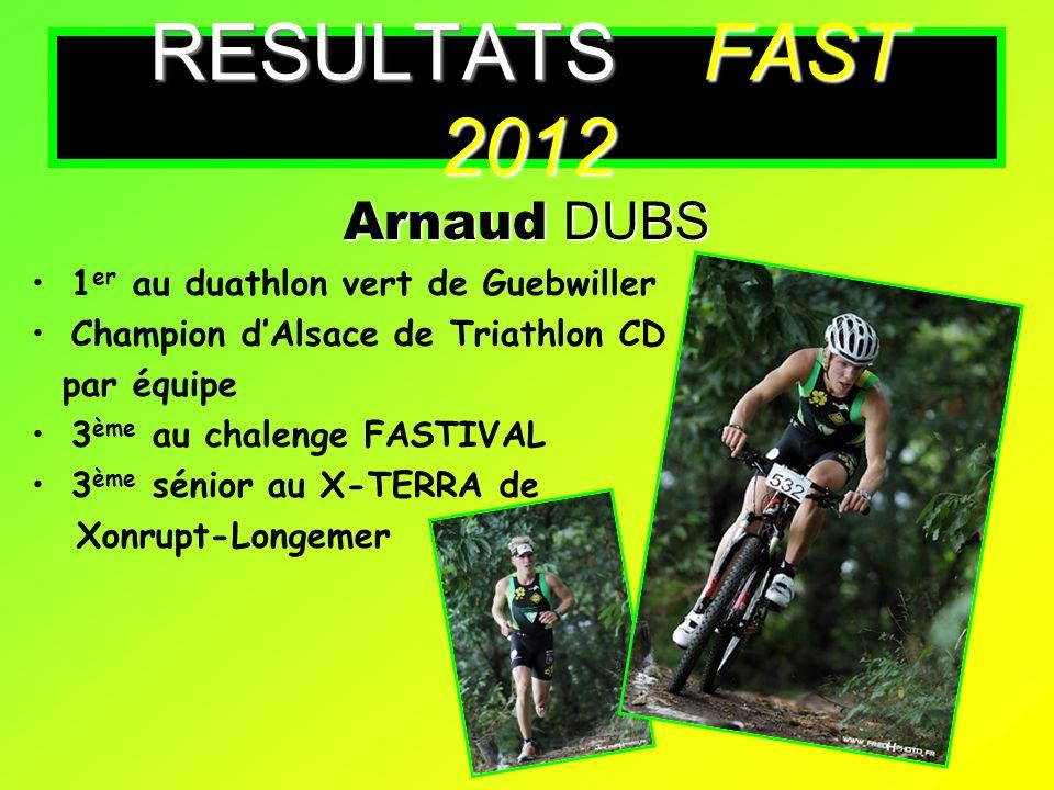 RESULTATS FAST 2012 Arnaud DUBS 1er au duathlon vert de Guebwiller