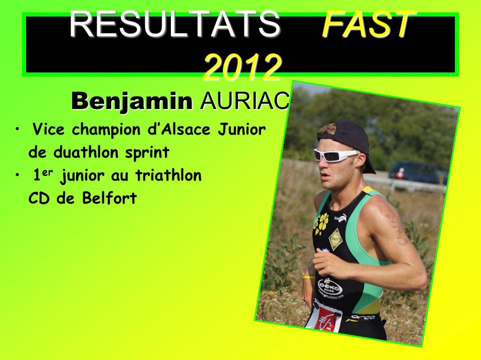 RESULTATS FAST 2012 Benjamin AURIAC Vice champion d'Alsace Junior