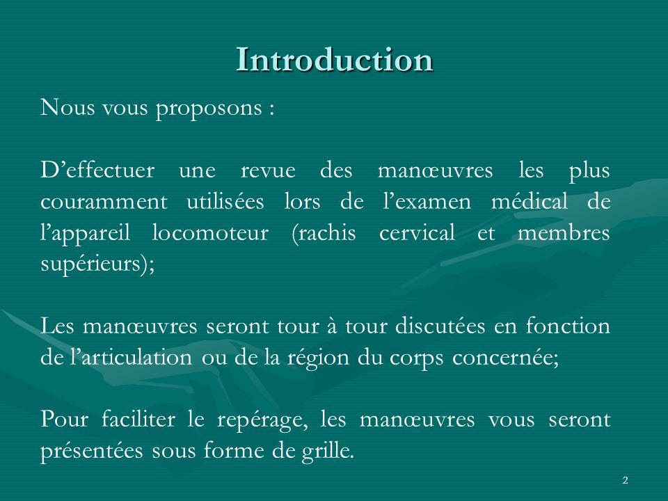 Introduction Nous vous proposons :