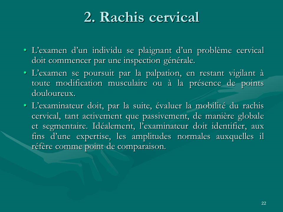 2. Rachis cervical L'examen d'un individu se plaignant d'un problème cervical doit commencer par une inspection générale.