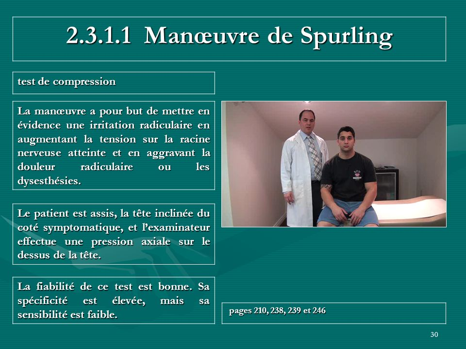 2.3.1.1 Manœuvre de Spurling test de compression