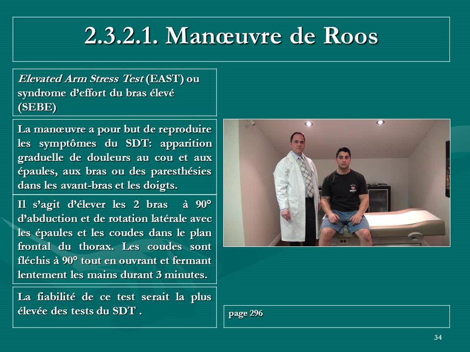 2.3.2.1. Manœuvre de Roos Elevated Arm Stress Test (EAST) ou syndrome d'effort du bras élevé (SEBE)