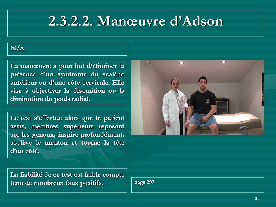 2.3.2.2. Manœuvre d'Adson N/A.