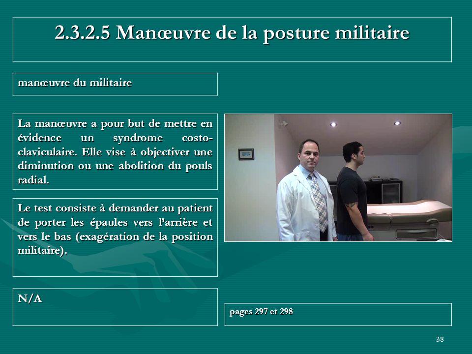 2.3.2.5 Manœuvre de la posture militaire