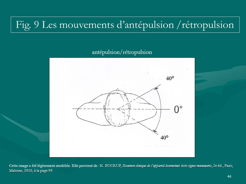 Fig. 9 Les mouvements d'antépulsion /rétropulsion