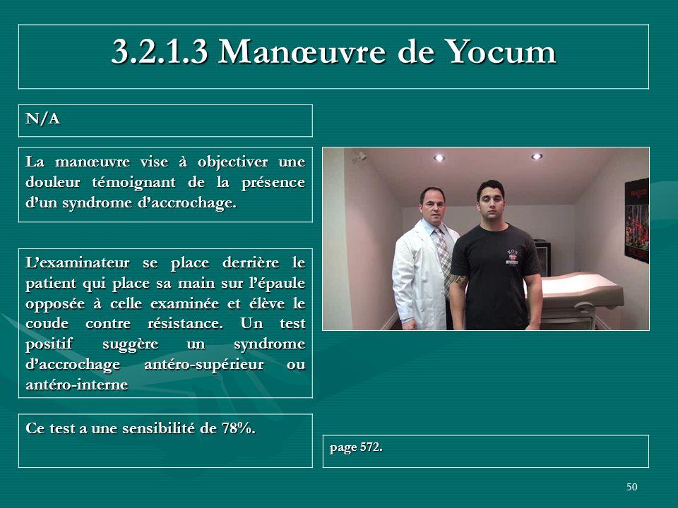 3.2.1.3 Manœuvre de Yocum N/A. La manœuvre vise à objectiver une douleur témoignant de la présence d'un syndrome d'accrochage.