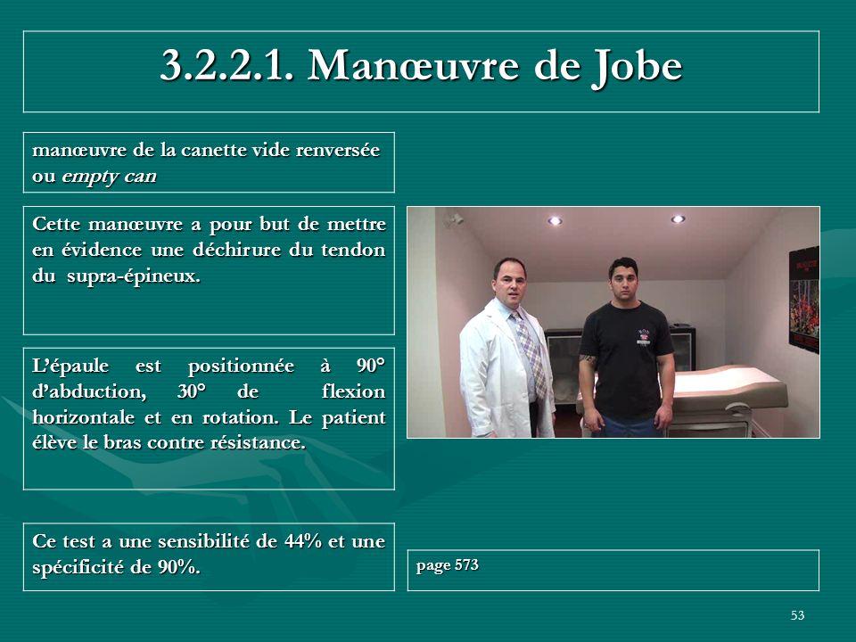 3.2.2.1. Manœuvre de Jobe manœuvre de la canette vide renversée ou empty can.
