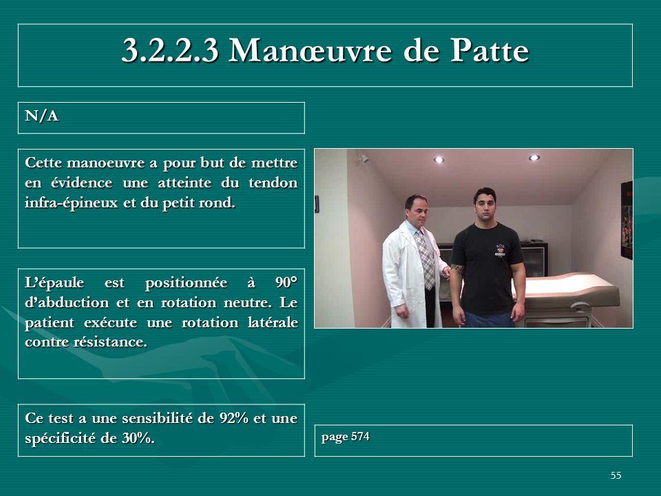 3.2.2.3 Manœuvre de Patte N/A. Cette manoeuvre a pour but de mettre en évidence une atteinte du tendon infra-épineux et du petit rond.