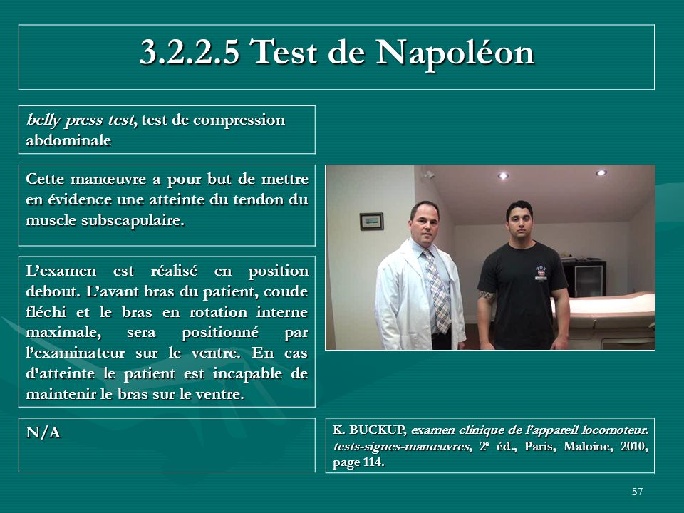 3.2.2.5 Test de Napoléon belly press test, test de compression abdominale.