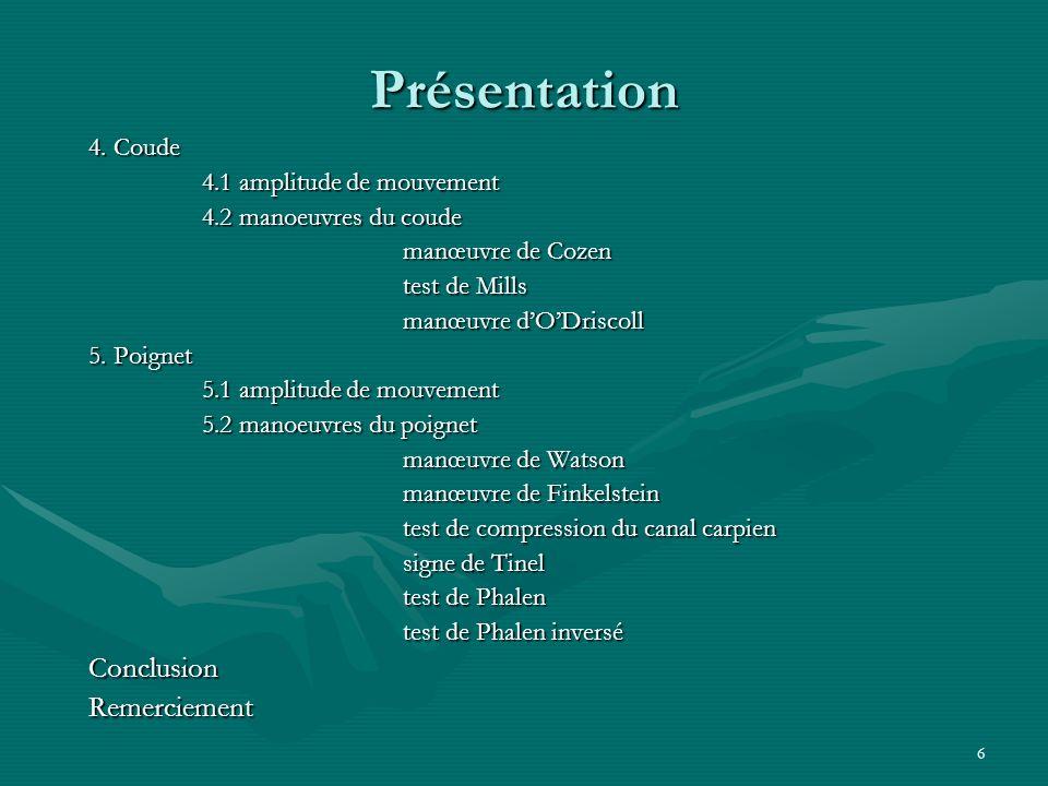Présentation Conclusion Remerciement 4. Coude