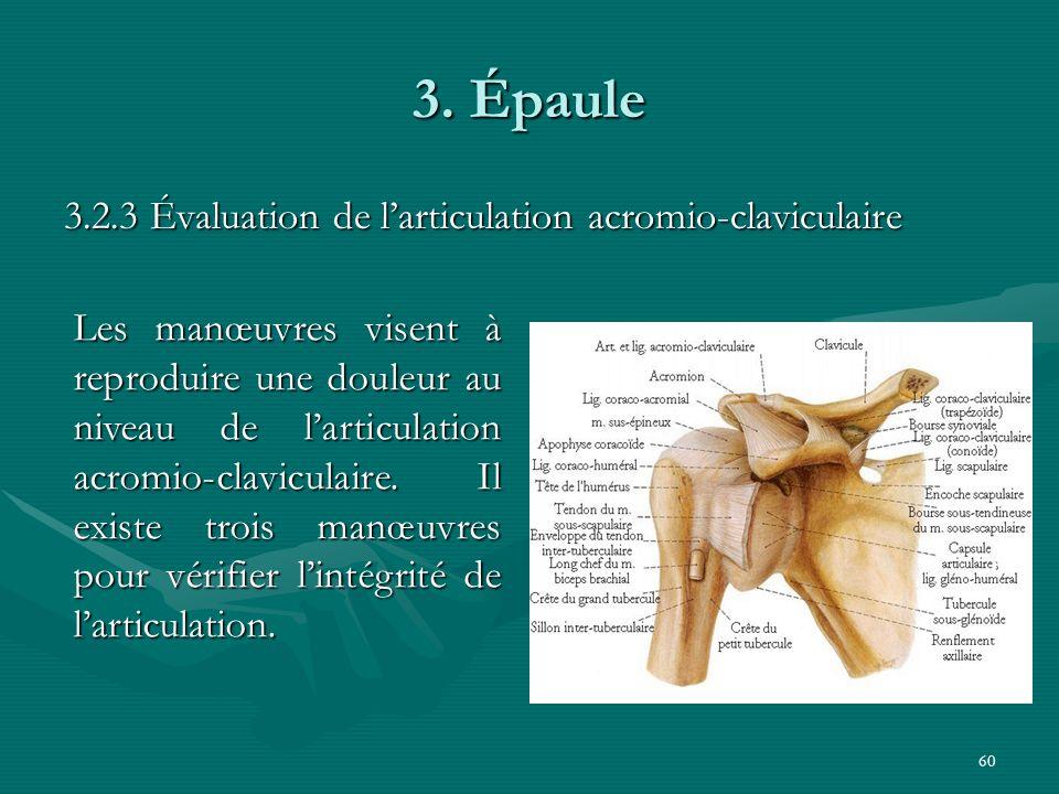 3. Épaule 3.2.3 Évaluation de l'articulation acromio-claviculaire