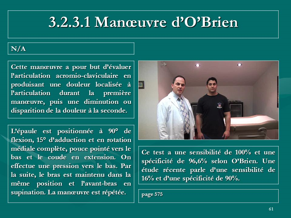 3.2.3.1 Manœuvre d'O'Brien N/A