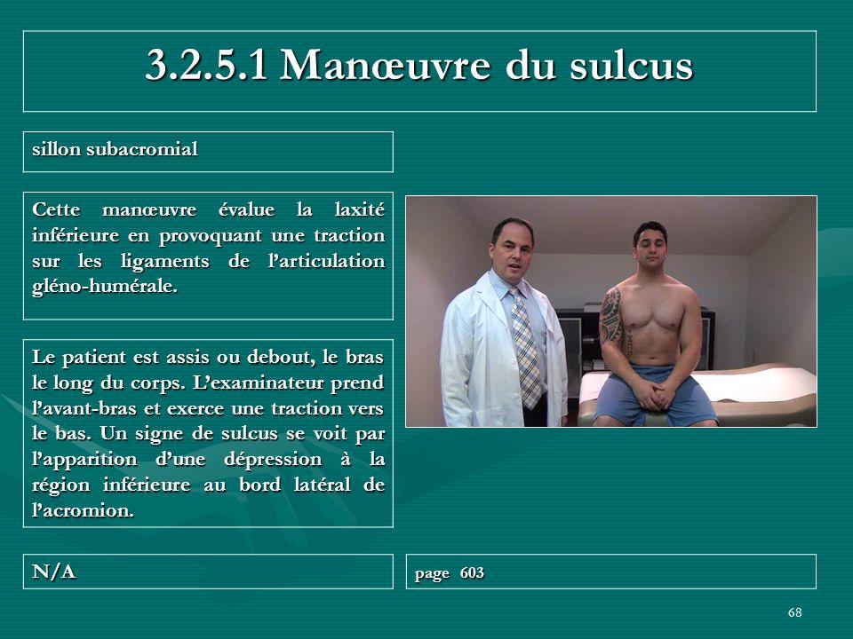3.2.5.1 Manœuvre du sulcus sillon subacromial