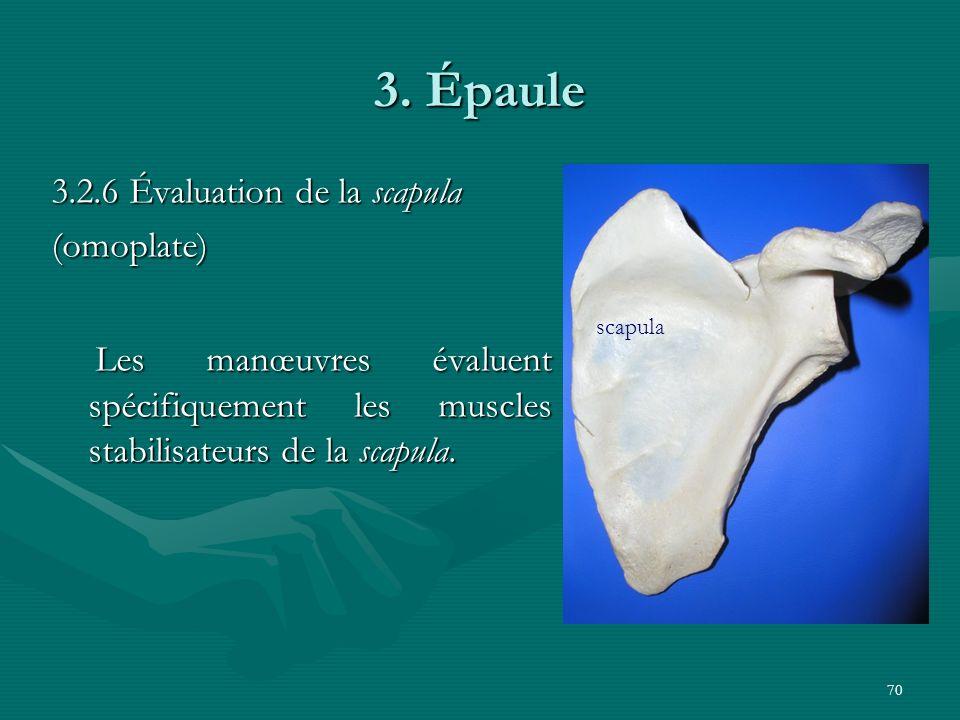 3. Épaule 3.2.6 Évaluation de la scapula. (omoplate) Les manœuvres évaluent spécifiquement les muscles stabilisateurs de la scapula.