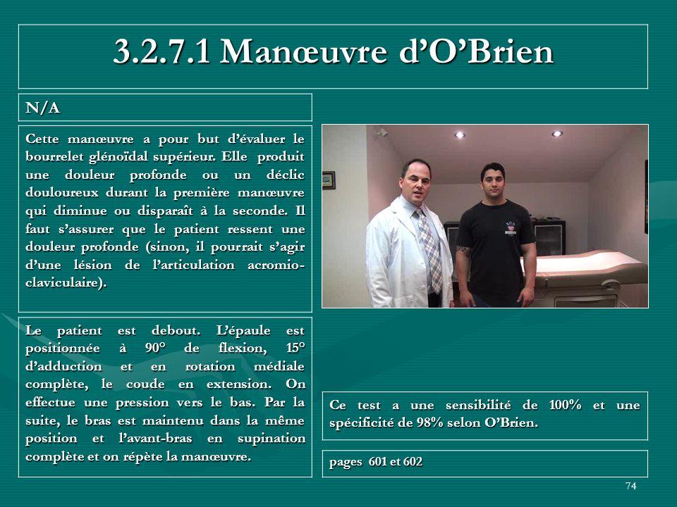 3.2.7.1 Manœuvre d'O'Brien N/A
