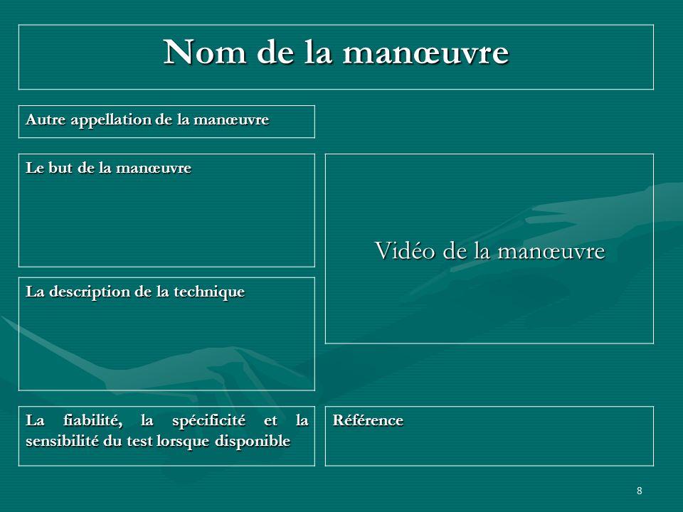 Nom de la manœuvre Vidéo de la manœuvre
