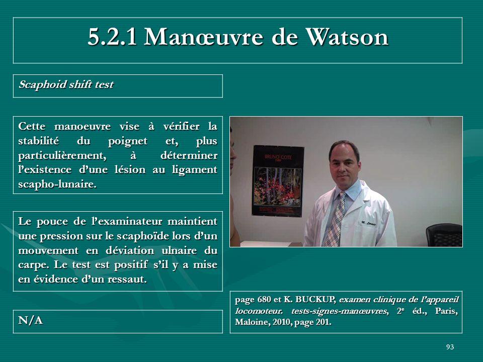 5.2.1 Manœuvre de Watson Scaphoid shift test