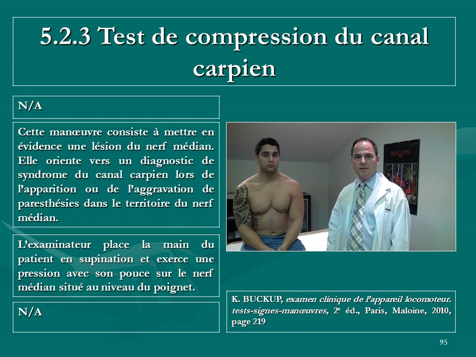 5.2.3 Test de compression du canal carpien