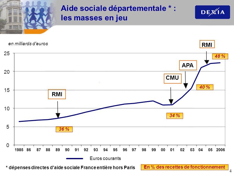 Aide sociale départementale * : les masses en jeu