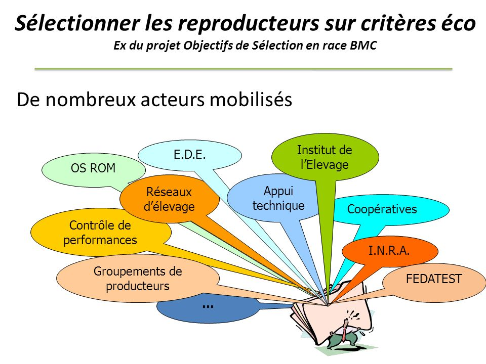 Sélectionner les reproducteurs sur critères éco Ex du projet Objectifs de Sélection en race BMC