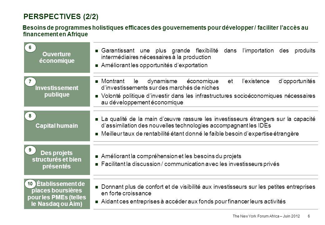 Investissement publique Des projets structurés et bien présentés