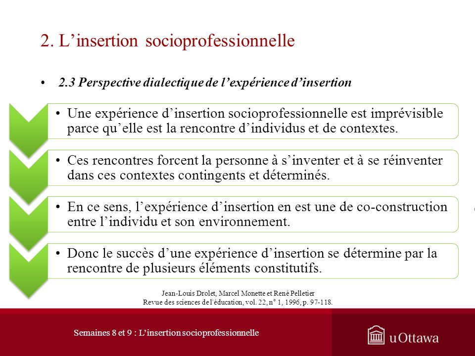 2. L'insertion socioprofessionnelle