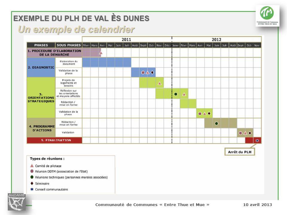 Un exemple de calendrier
