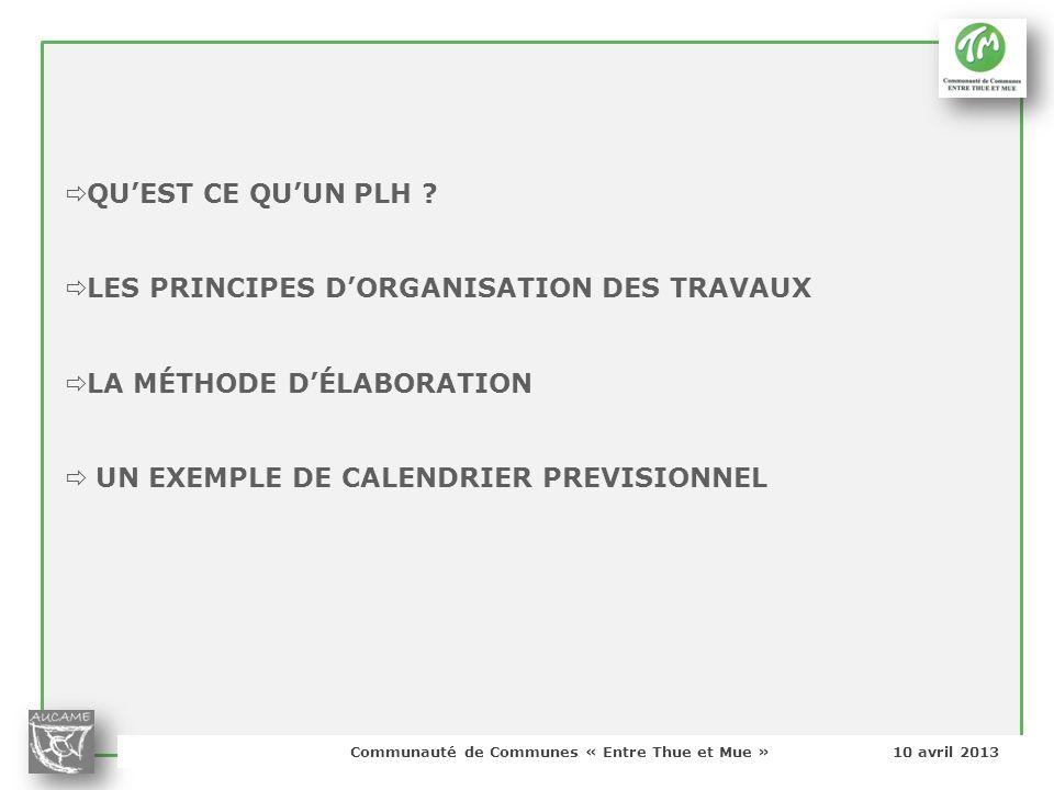 LES PRINCIPES D'ORGANISATION DES TRAVAUX