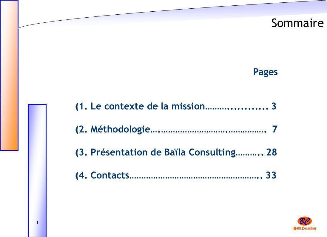 Sommaire Pages 1. Le contexte de la mission………............ 3