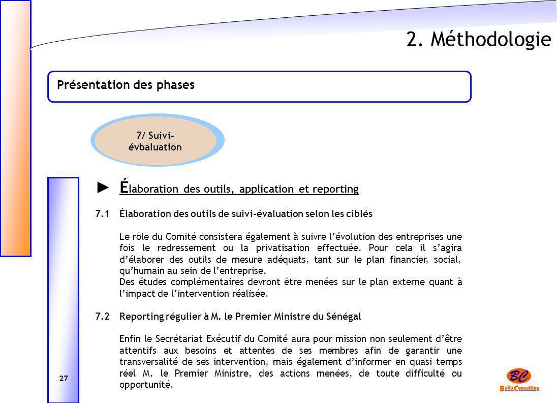 2. Méthodologie ► Élaboration des outils, application et reporting
