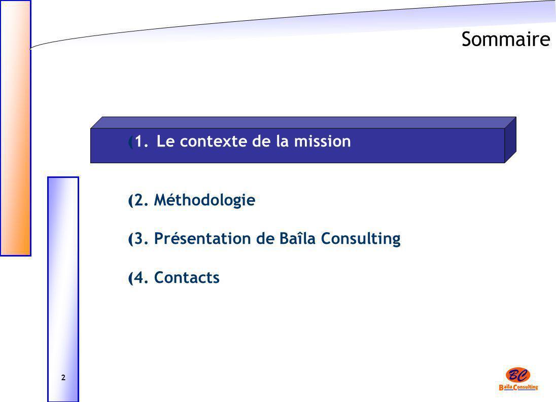 Sommaire 1. Le contexte de la mission 2. Méthodologie