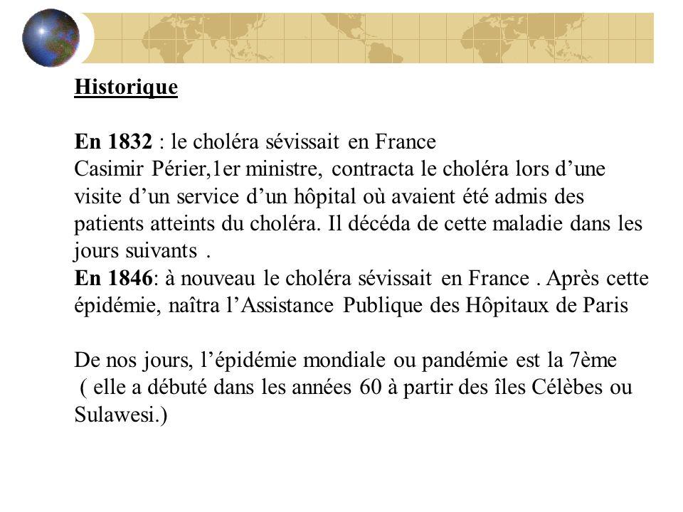 Historique En 1832 : le choléra sévissait en France.