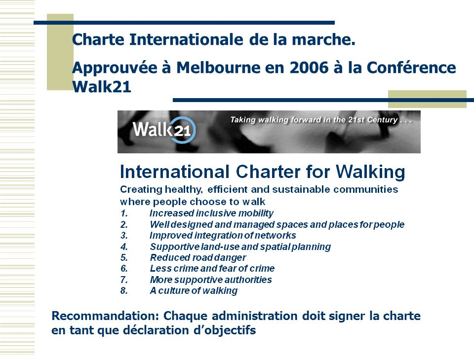 Charte Internationale de la marche.