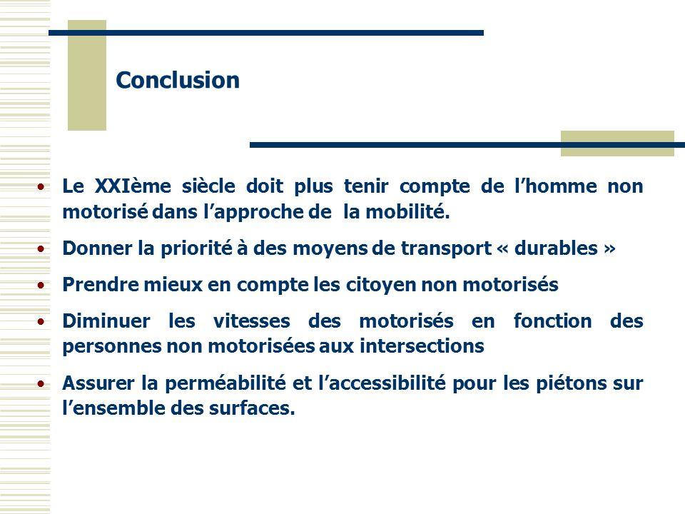 ConclusionLe XXIème siècle doit plus tenir compte de l'homme non motorisé dans l'approche de la mobilité.