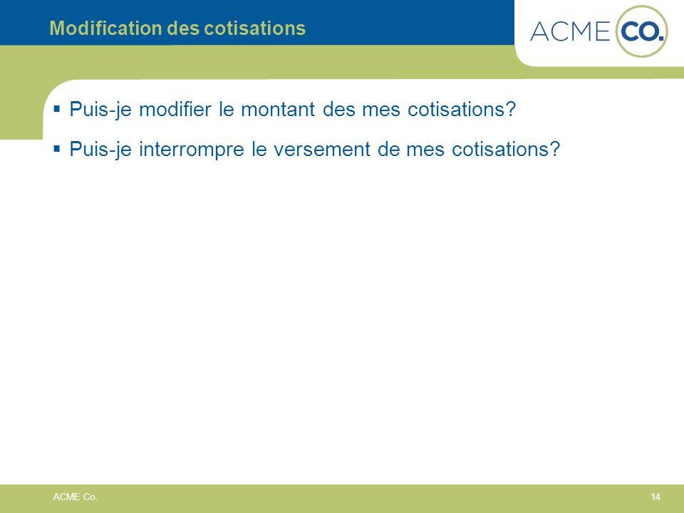 Modification des cotisations