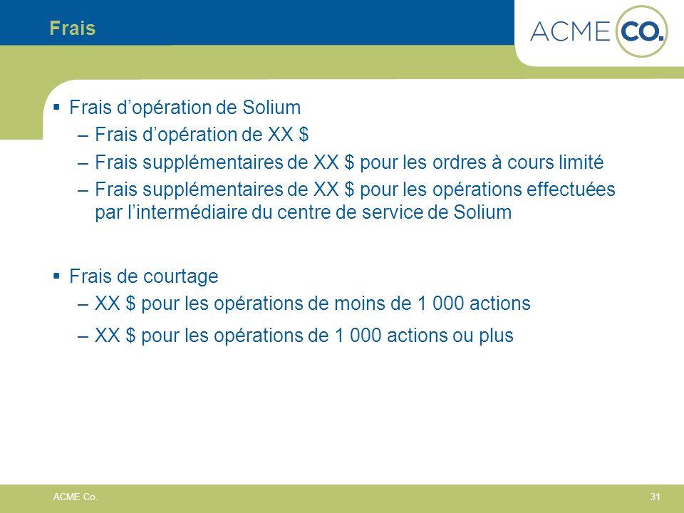 Frais Frais d'opération de Solium. Frais d'opération de XX $ Frais supplémentaires de XX $ pour les ordres à cours limité.