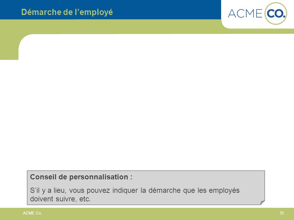 Démarche de l'employé Conseil de personnalisation :