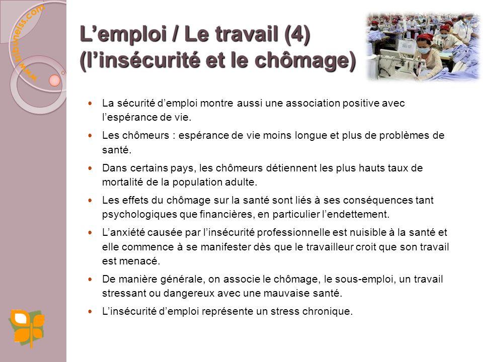 L'emploi / Le travail (4) (l'insécurité et le chômage)