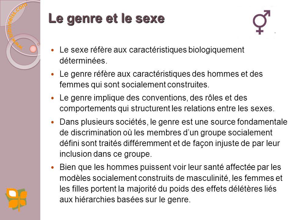 Le genre et le sexe Le sexe réfère aux caractéristiques biologiquement déterminées.